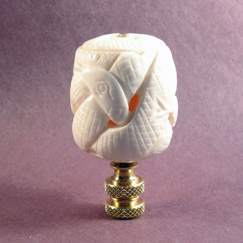 Lamp Finial Bleached Bone Carved Snake Ball Lamp Finials To Fit Any Decorating Style