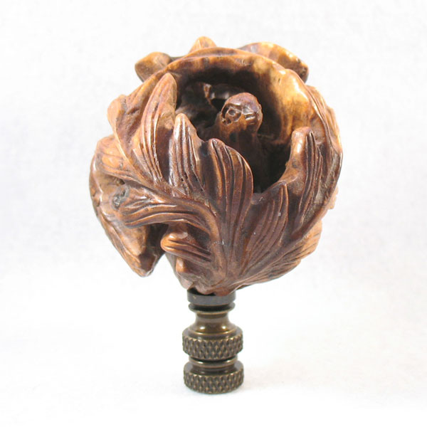 bird lamp finial carved boxwood bird in a nest 3 overall lamp. Black Bedroom Furniture Sets. Home Design Ideas