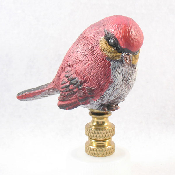 bird lamp finial small red with grey breast 2 1 2 overall lamp. Black Bedroom Furniture Sets. Home Design Ideas