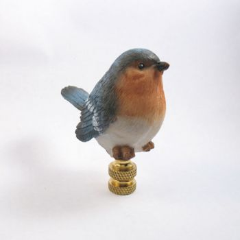 Lamp Finial Resin Hand Painted Blue Bird Lamp Finials To Fit Any