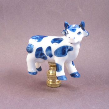 Lamp Finial; Blue And White Ceramic Cow